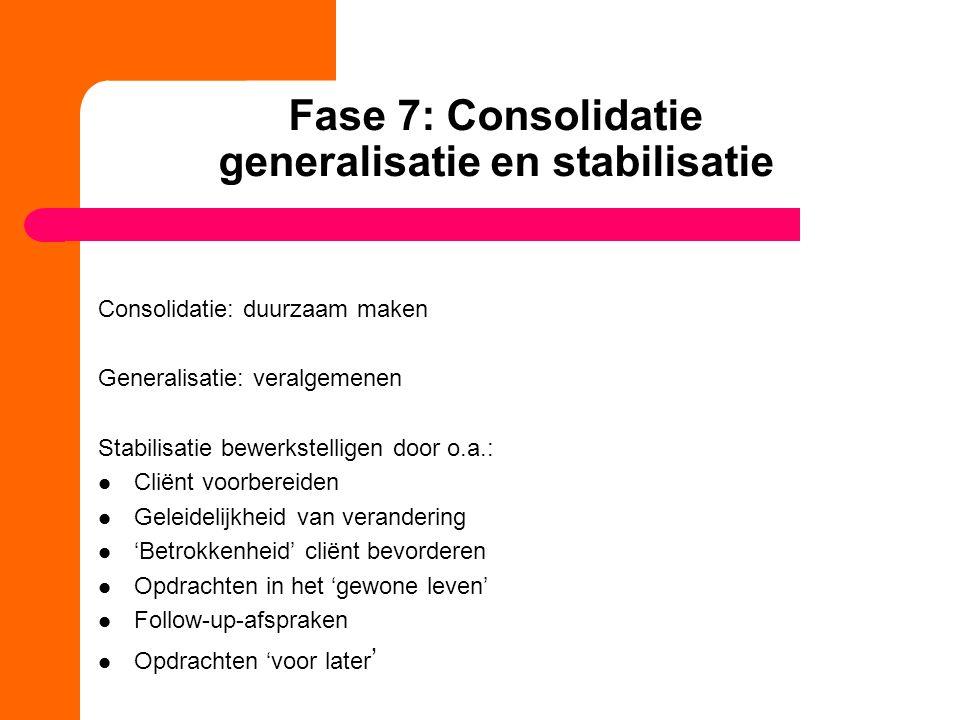 Fase 7: Consolidatie generalisatie en stabilisatie