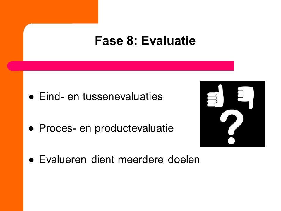 Fase 8: Evaluatie Eind- en tussenevaluaties