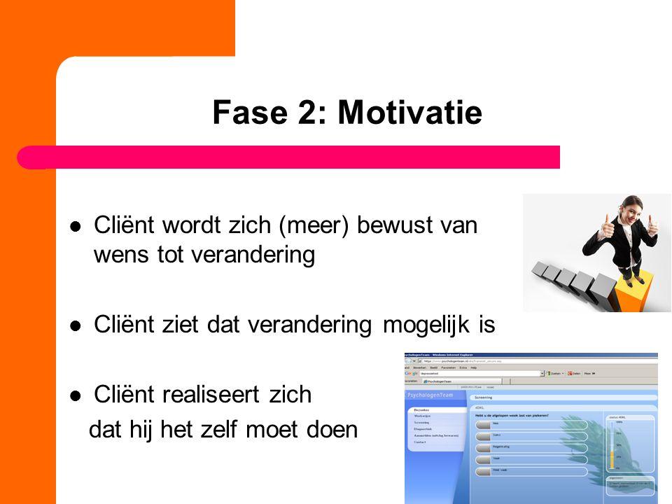 Fase 2: Motivatie Cliënt wordt zich (meer) bewust van wens tot verandering. Cliënt ziet dat verandering mogelijk is.