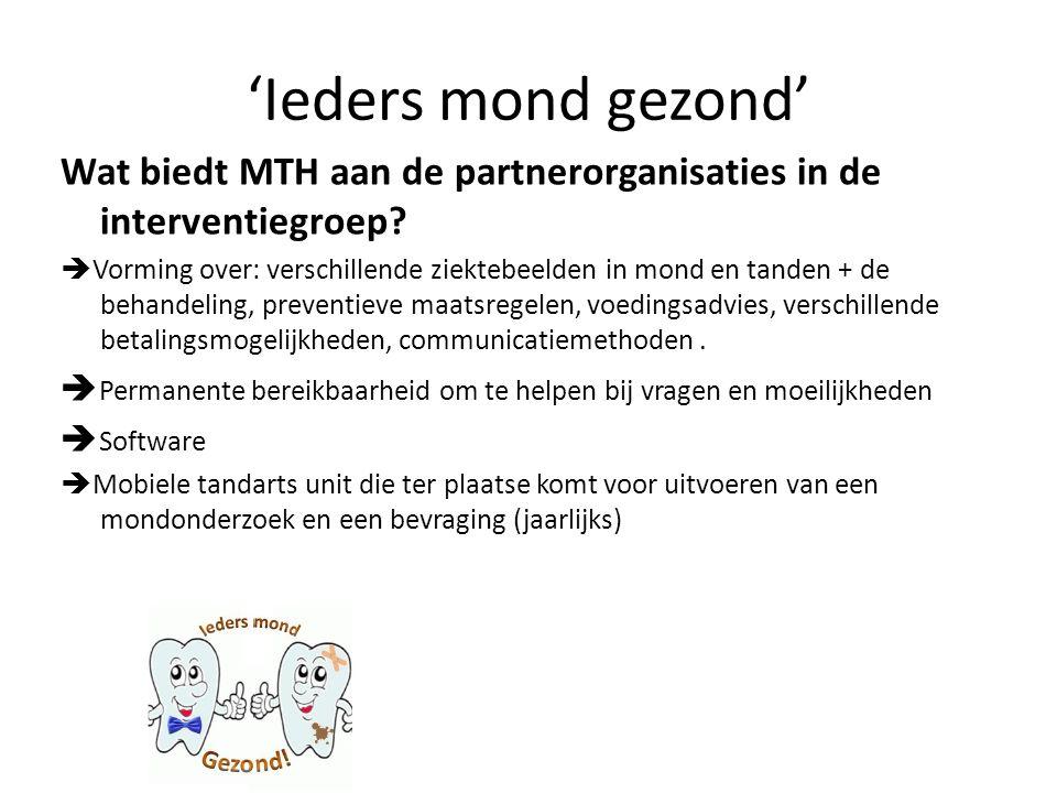 'Ieders mond gezond' Wat biedt MTH aan de partnerorganisaties in de interventiegroep