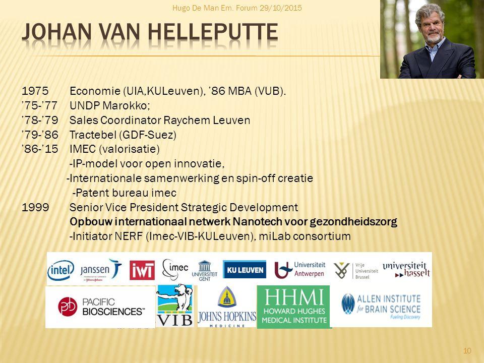 Johan Van Helleputte 1975 Economie (UIA,KULeuven), '86 MBA (VUB).