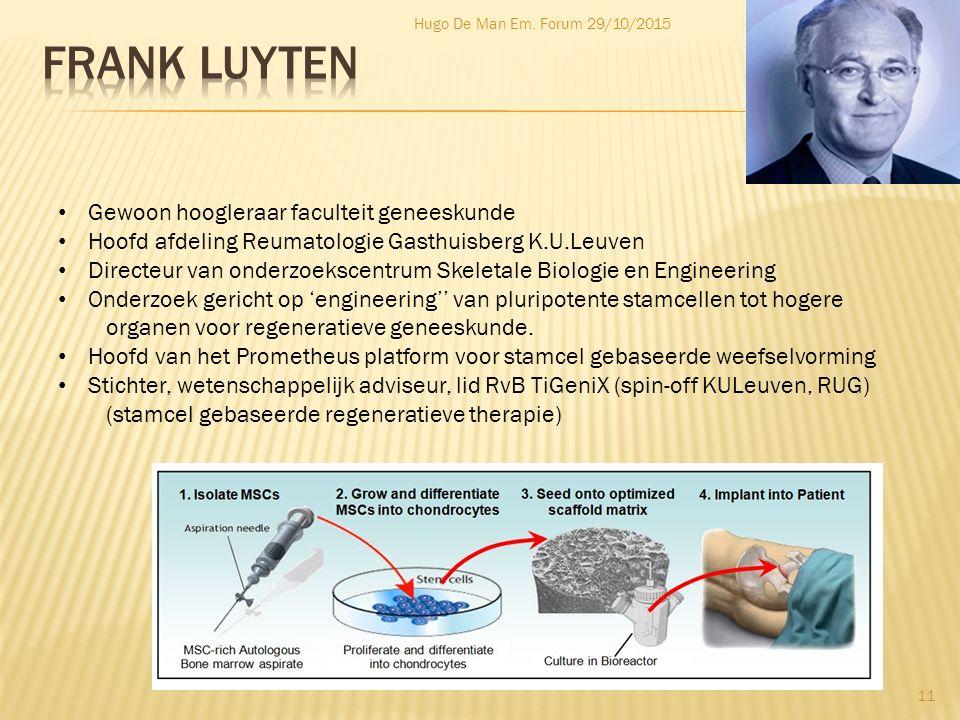 Frank luyten Gewoon hoogleraar faculteit geneeskunde