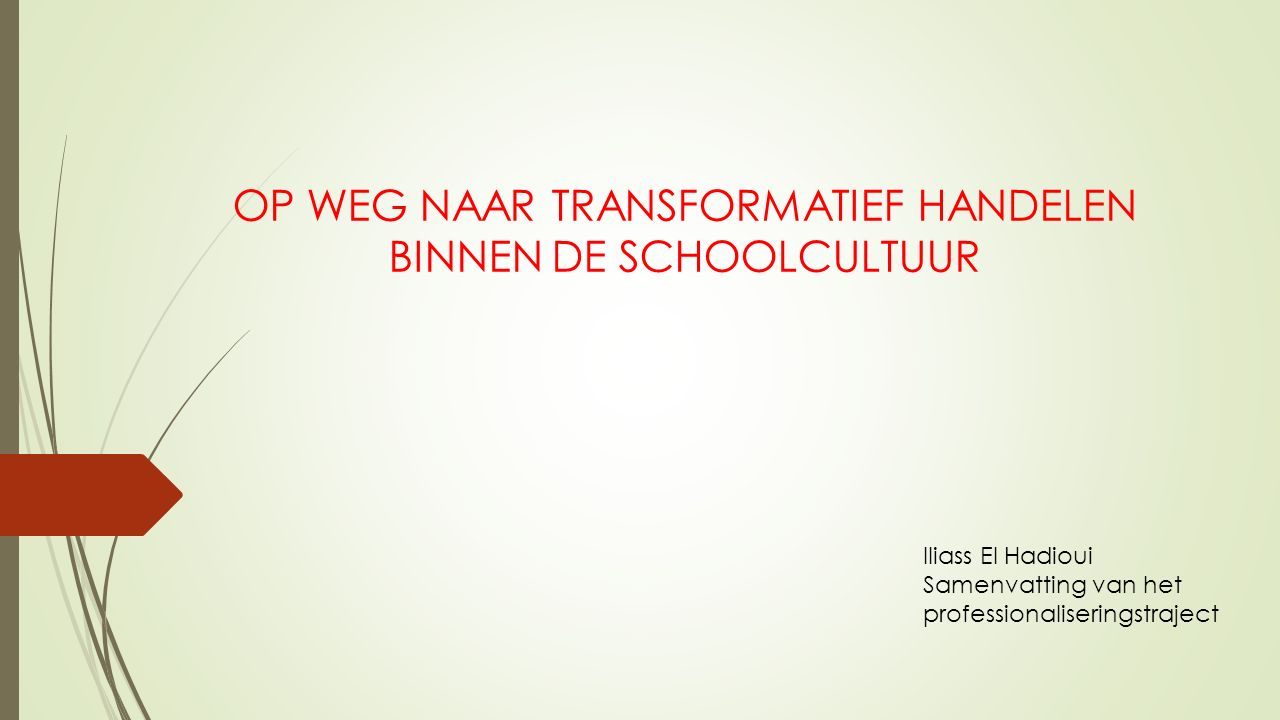 OP WEG NAAR TRANSFORMATIEF HANDELEN BINNEN DE SCHOOLCULTUUR