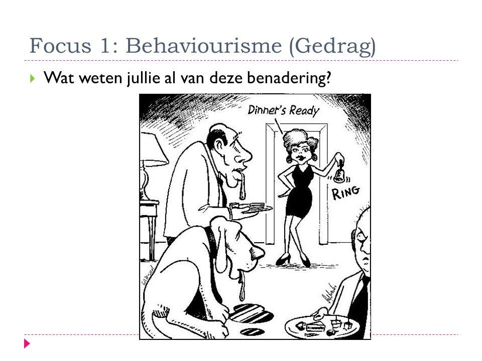 Focus 1: Behaviourisme (Gedrag)