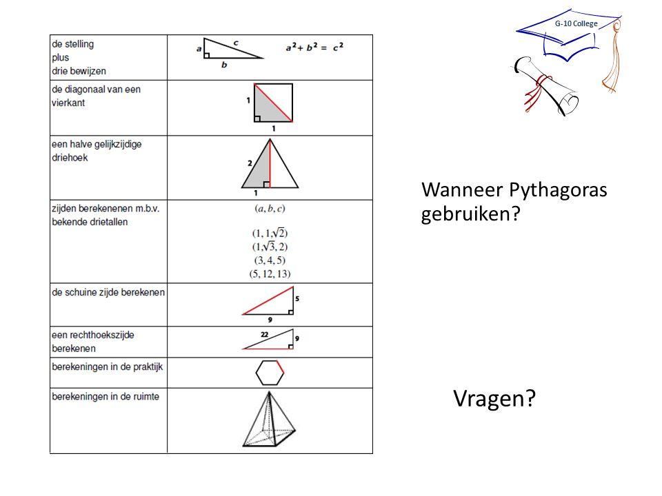 Vragen Wanneer Pythagoras gebruiken