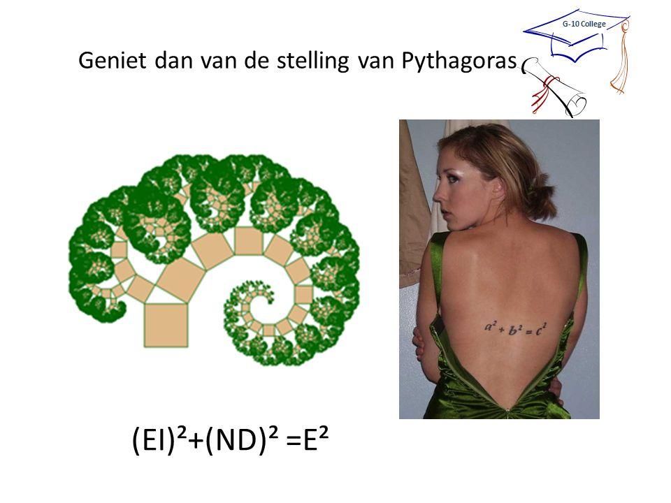 (EI)²+(ND)² =E² Geniet dan van de stelling van Pythagoras