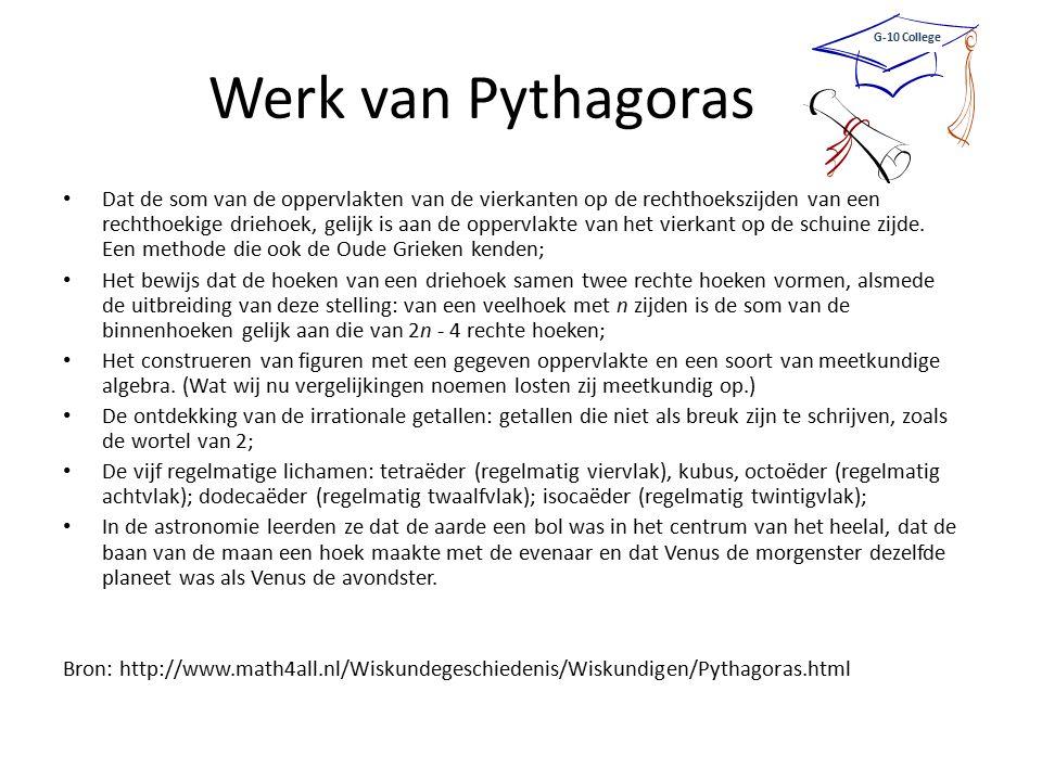 G-10 College Werk van Pythagoras.