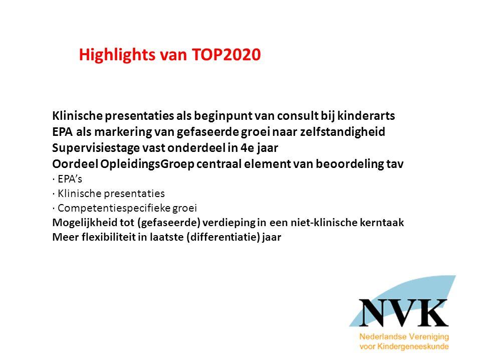 Highlights van TOP2020 Klinische presentaties als beginpunt van consult bij kinderarts. EPA als markering van gefaseerde groei naar zelfstandigheid.