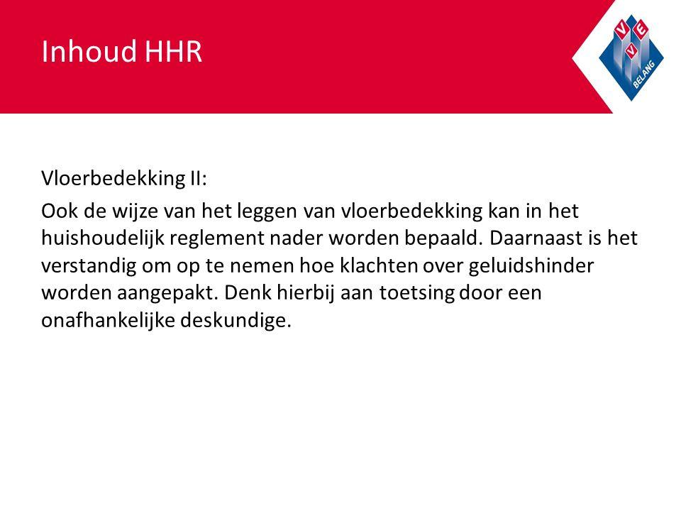 Inhoud HHR Vloerbedekking II: