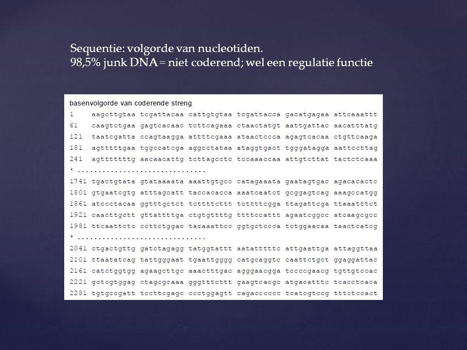 Sequentie: volgorde van nucleotiden.