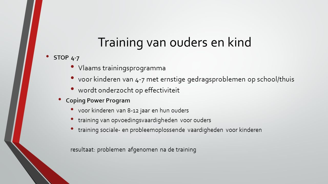 Training van ouders en kind