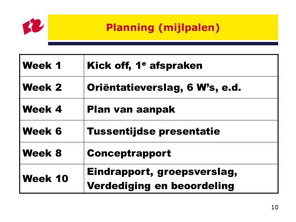 Planning (mijlpalen) Week 1. Kick off, 1e afspraken. Week 2. Oriëntatieverslag, 6 W's, e.d. Week 4.