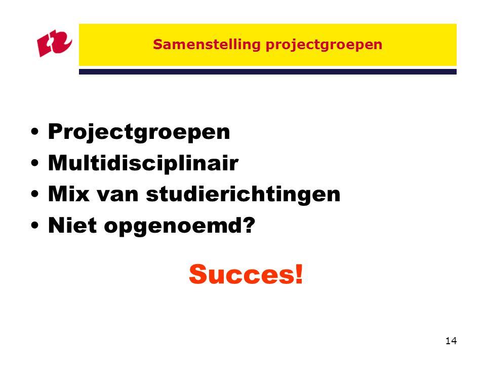 Samenstelling projectgroepen