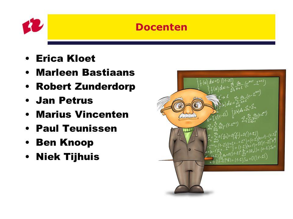 Docenten Erica Kloet. Marleen Bastiaans. Robert Zunderdorp. Jan Petrus. Marius Vincenten. Paul Teunissen.