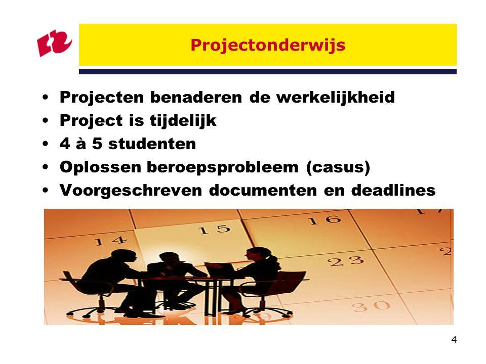 Projectonderwijs Projecten benaderen de werkelijkheid. Project is tijdelijk. 4 à 5 studenten. Oplossen beroepsprobleem (casus)