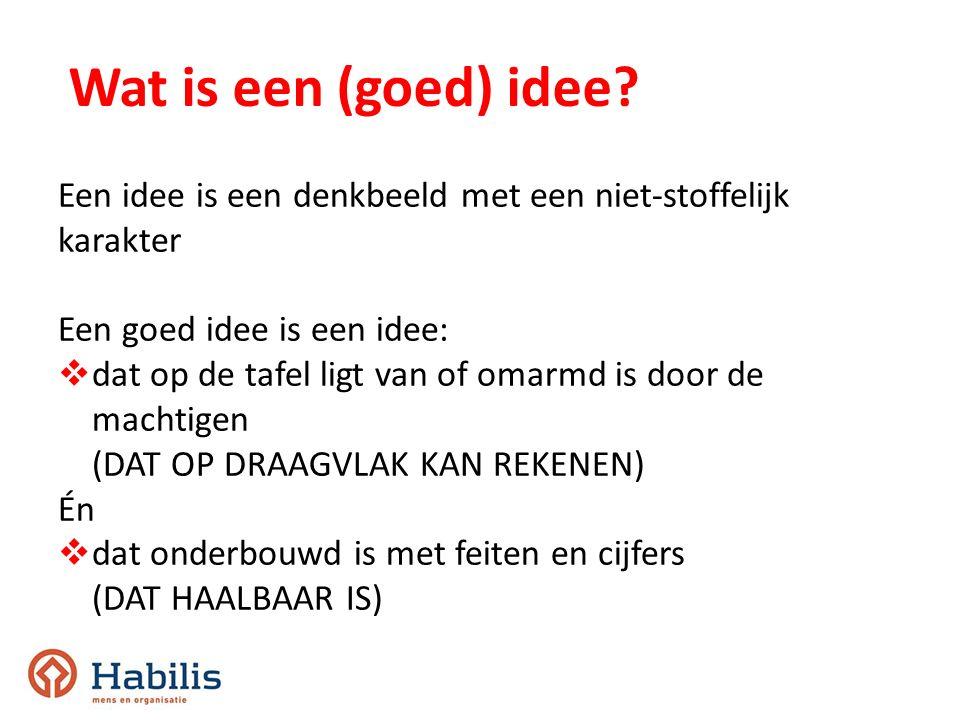 Wat is een (goed) idee Een idee is een denkbeeld met een niet-stoffelijk. karakter. Een goed idee is een idee: