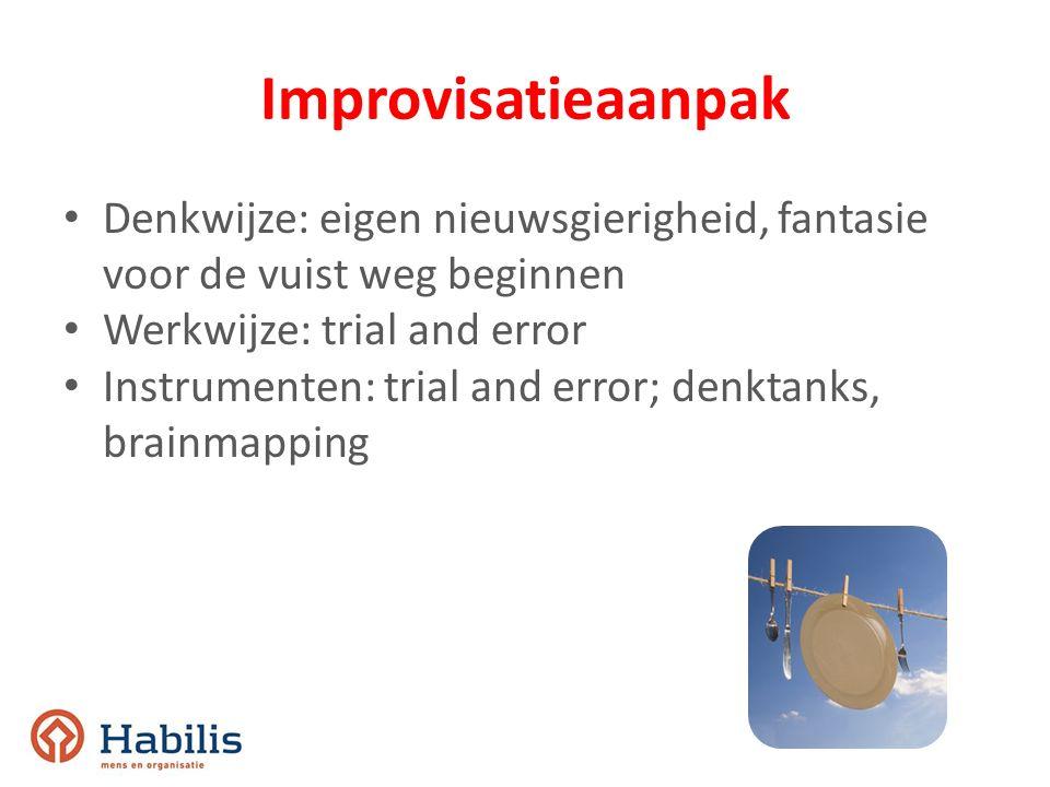 Improvisatieaanpak Denkwijze: eigen nieuwsgierigheid, fantasie voor de vuist weg beginnen. Werkwijze: trial and error.