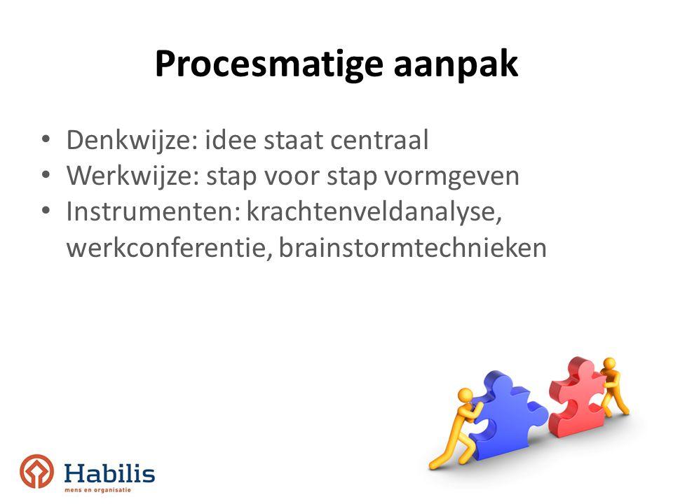 Procesmatige aanpak Denkwijze: idee staat centraal