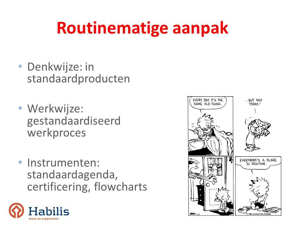 Routinematige aanpak Denkwijze: in standaardproducten