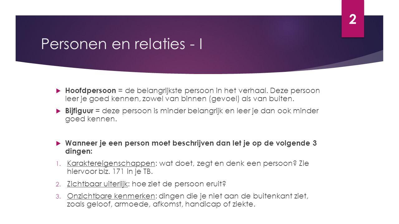Personen en relaties - I