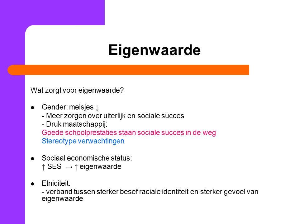 Eigenwaarde Wat zorgt voor eigenwaarde Gender: meisjes ↓