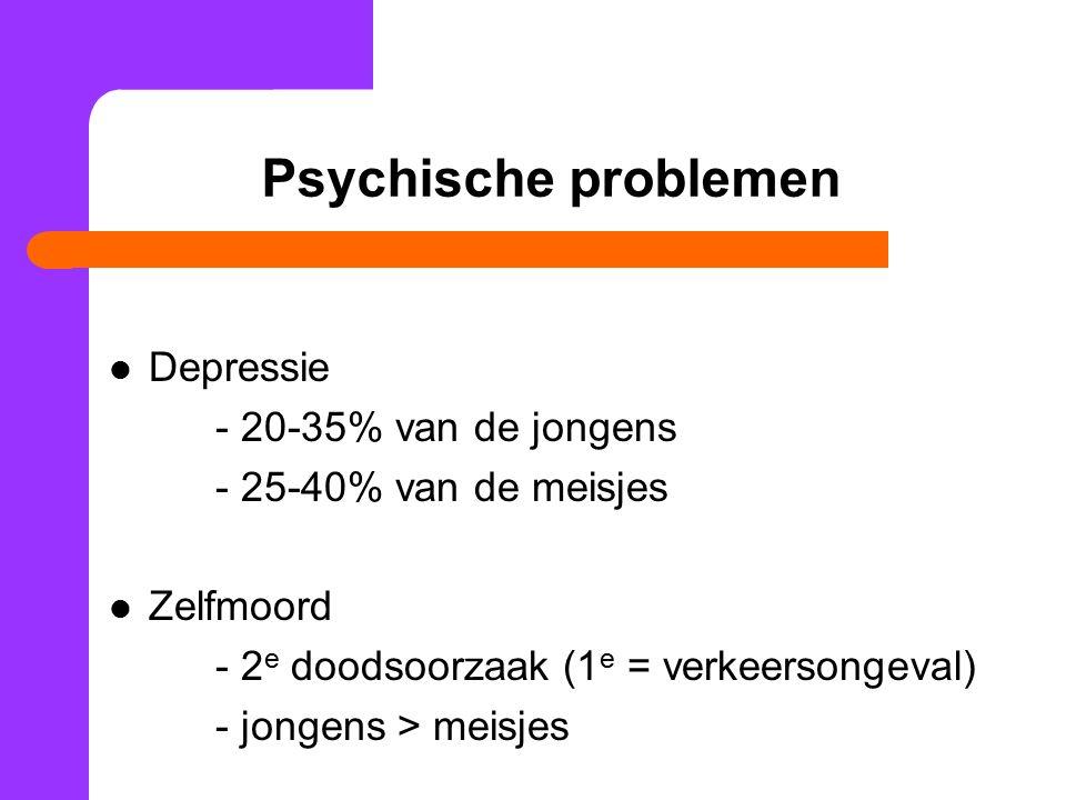 Psychische problemen Depressie - 20-35% van de jongens
