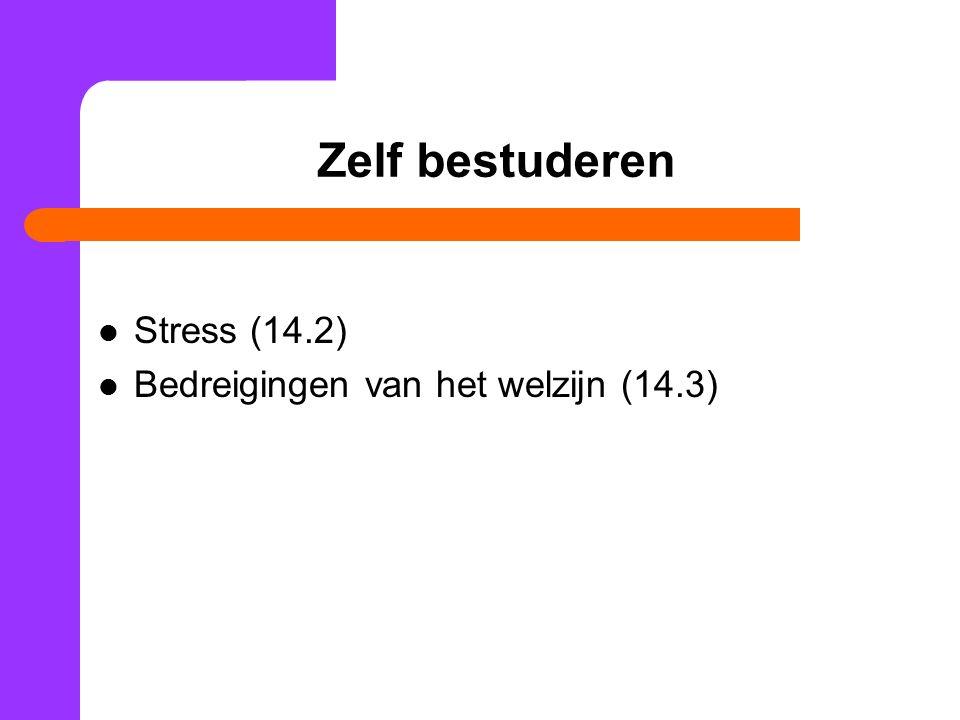 Zelf bestuderen Stress (14.2) Bedreigingen van het welzijn (14.3)