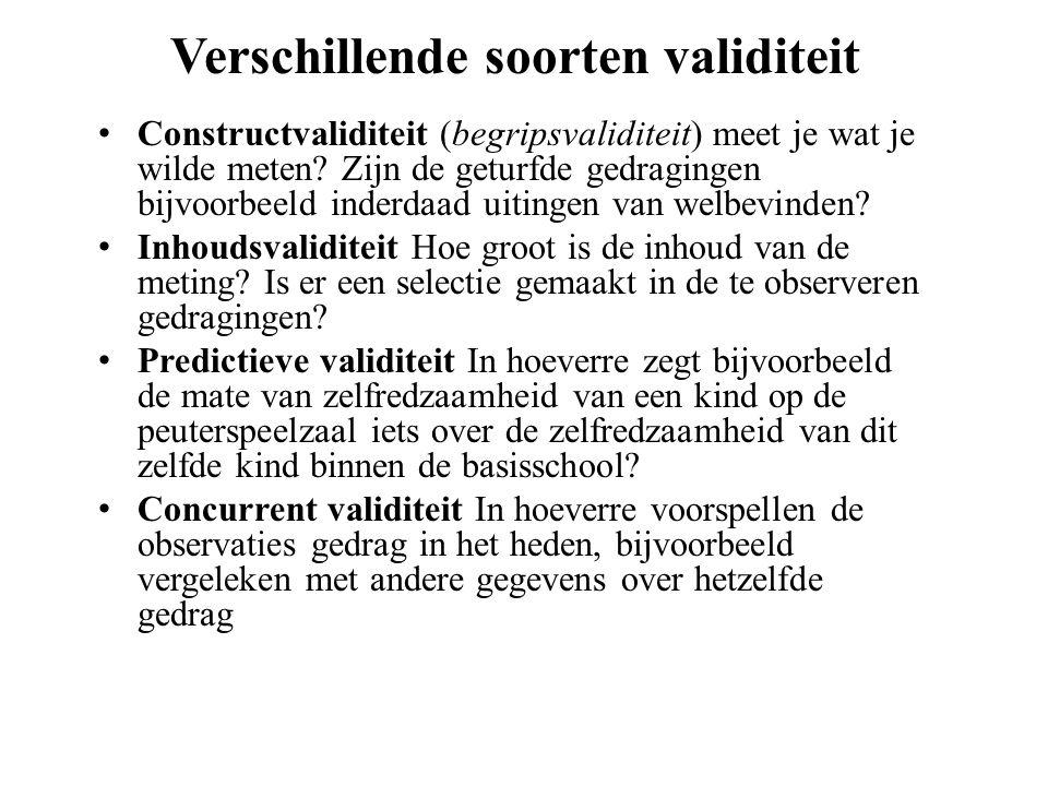 Verschillende soorten validiteit