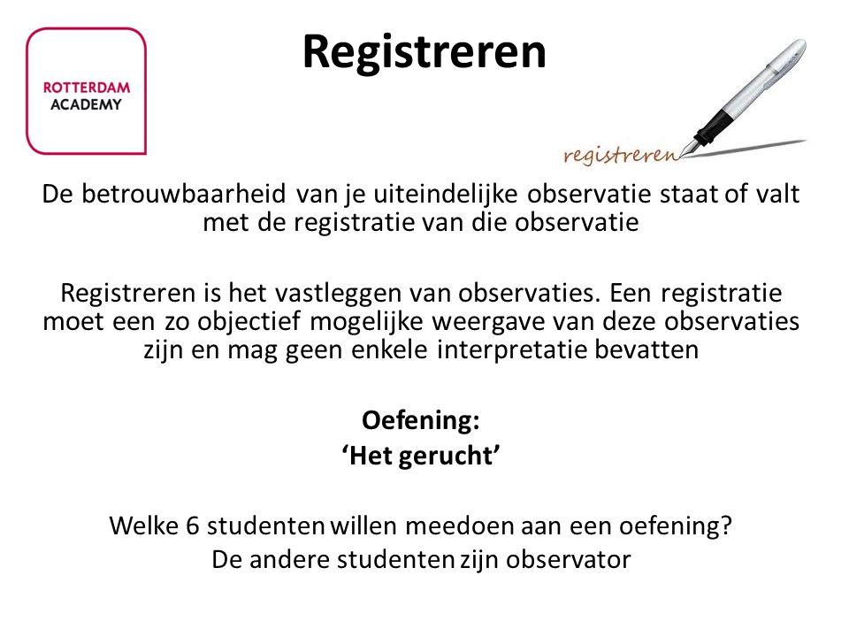 Registreren De betrouwbaarheid van je uiteindelijke observatie staat of valt met de registratie van die observatie.