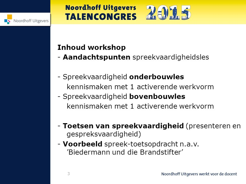 Inhoud workshop - Aandachtspunten spreekvaardigheidsles. - Spreekvaardigheid onderbouwles. kennismaken met 1 activerende werkvorm.