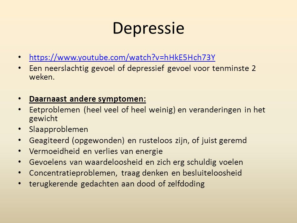 Depressie https://www.youtube.com/watch v=hHkE5Hch73Y