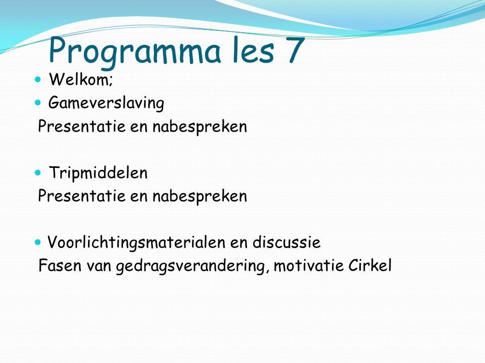 Programma les 7 Welkom; Gameverslaving Presentatie en nabespreken