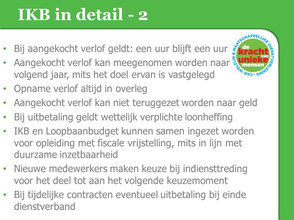 IKB in detail - 2 Bij aangekocht verlof geldt: een uur blijft een uur