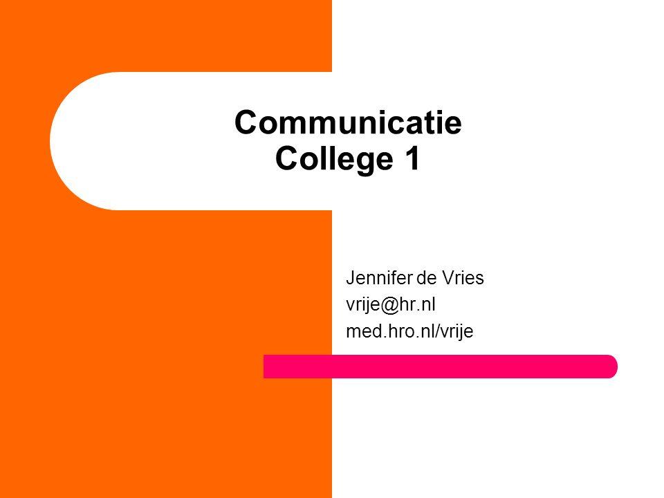 Jennifer de Vries vrije@hr.nl med.hro.nl/vrije