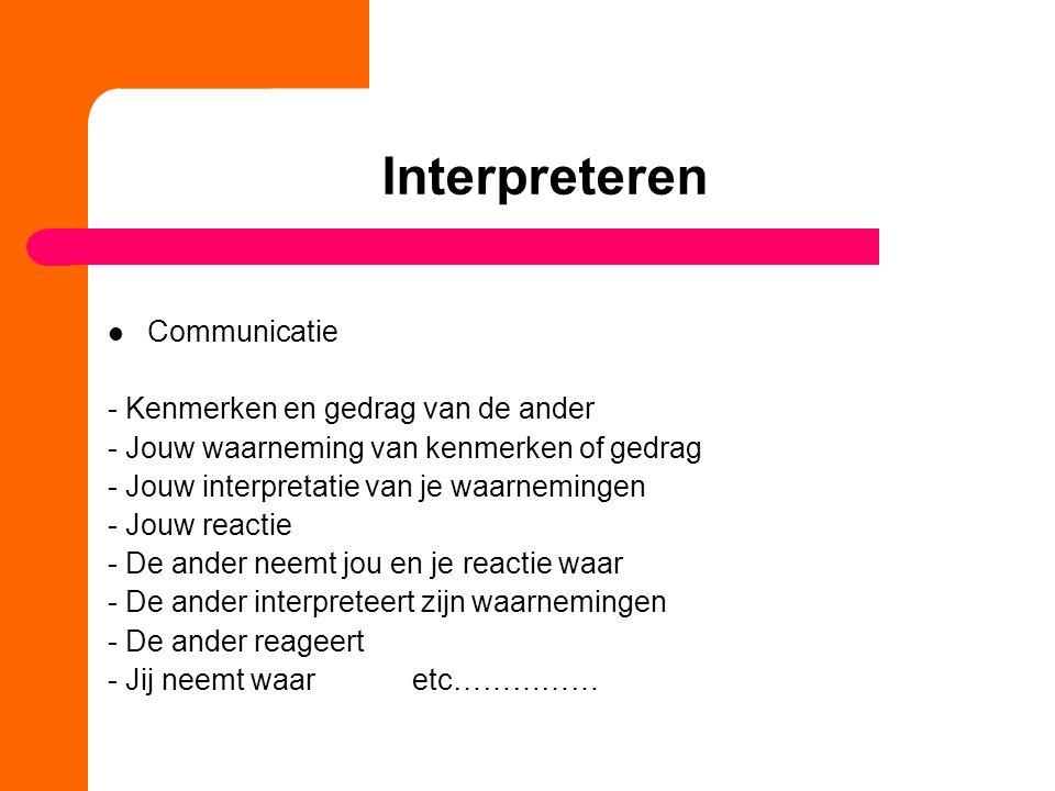 Interpreteren Communicatie - Kenmerken en gedrag van de ander