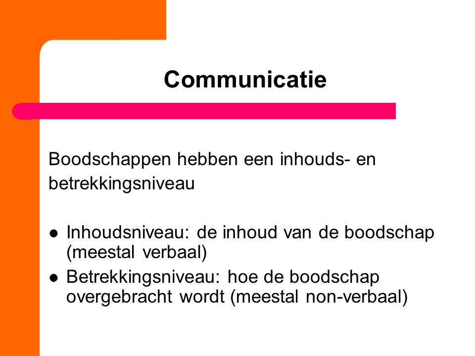 Communicatie Boodschappen hebben een inhouds- en betrekkingsniveau