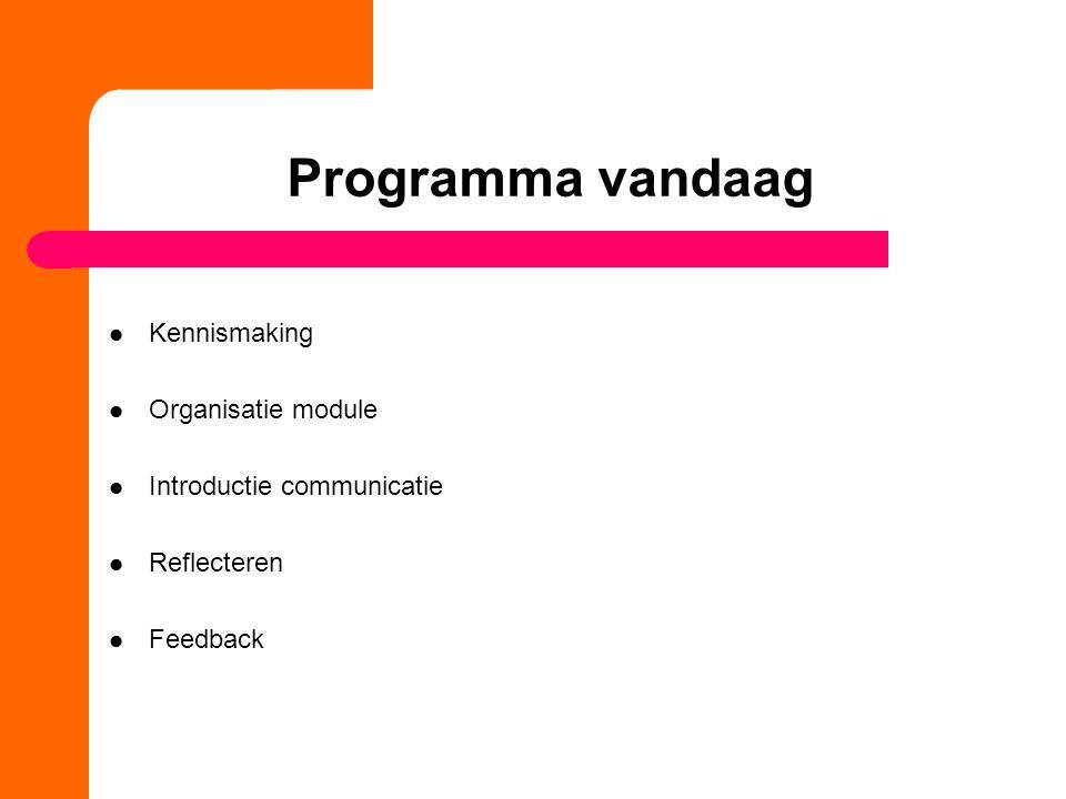 Programma vandaag Kennismaking Organisatie module