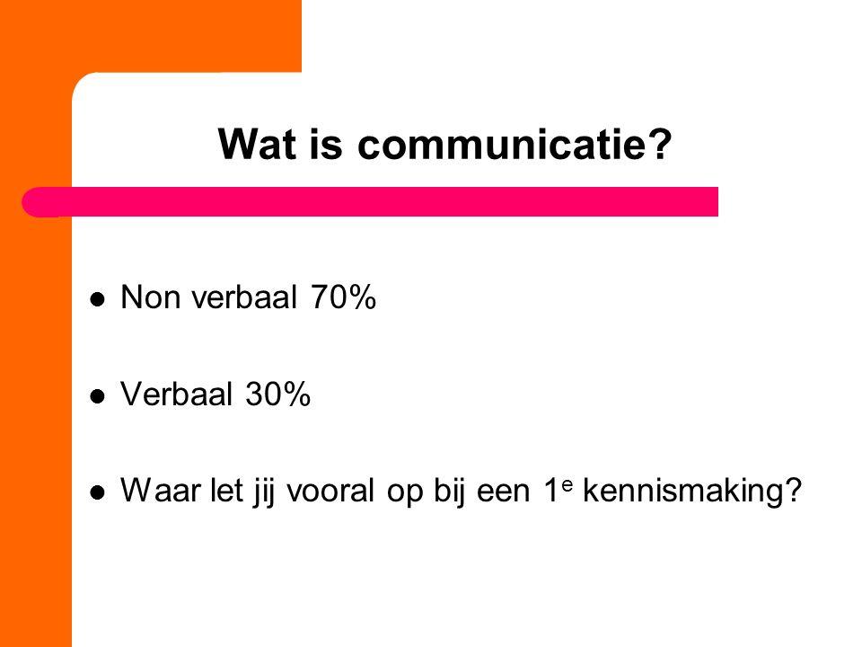 Wat is communicatie Non verbaal 70% Verbaal 30%