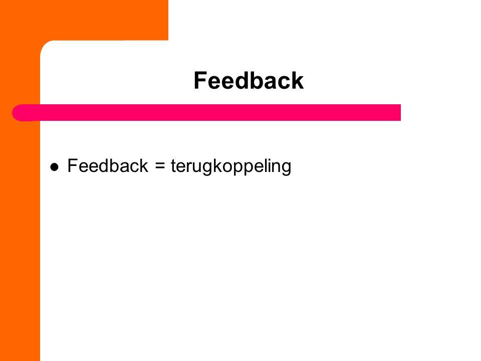 Feedback Feedback = terugkoppeling