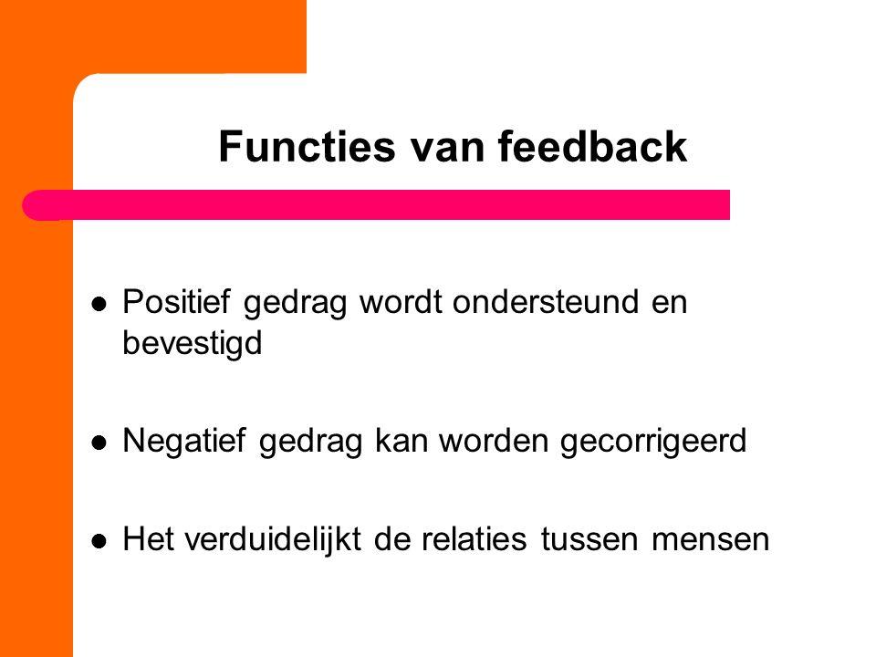 Functies van feedback Positief gedrag wordt ondersteund en bevestigd