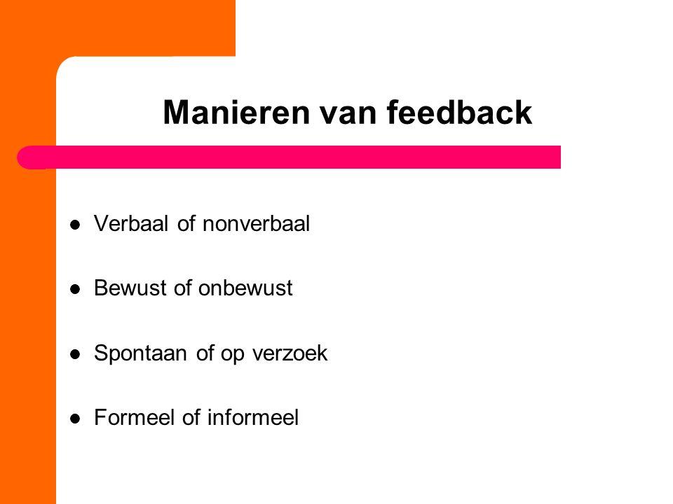 Manieren van feedback Verbaal of nonverbaal Bewust of onbewust