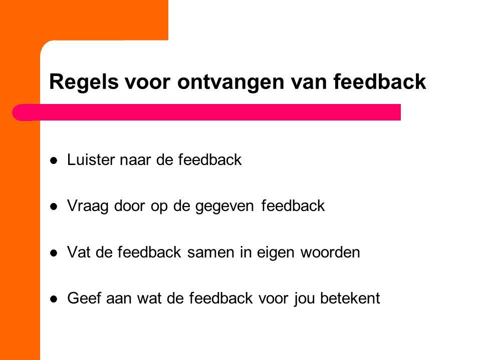 Regels voor ontvangen van feedback