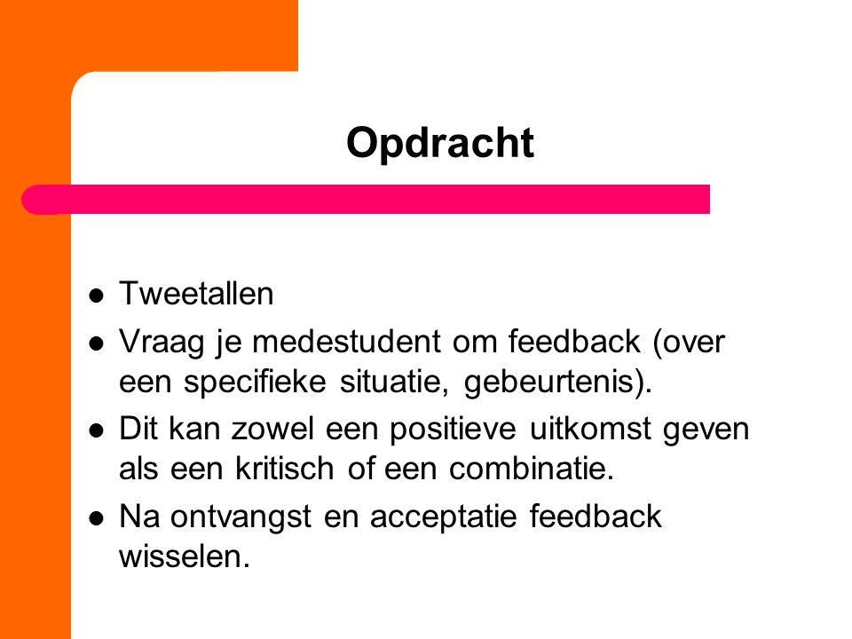 Opdracht Tweetallen. Vraag je medestudent om feedback (over een specifieke situatie, gebeurtenis).