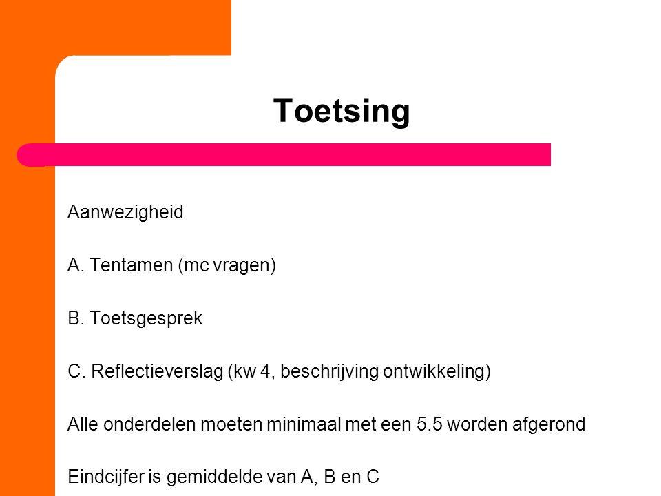 Toetsing Aanwezigheid A. Tentamen (mc vragen) B. Toetsgesprek