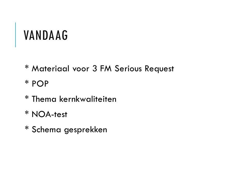 Vandaag * Materiaal voor 3 FM Serious Request * POP