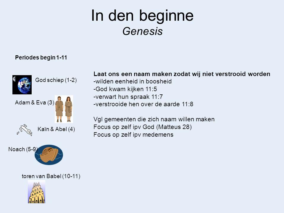 In den beginne Genesis Periodes begin 1-11. Laat ons een naam maken zodat wij niet verstrooid worden.