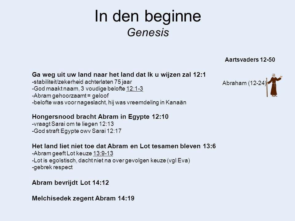 In den beginne Genesis Aartsvaders 12-50. Ga weg uit uw land naar het land dat Ik u wijzen zal 12:1.
