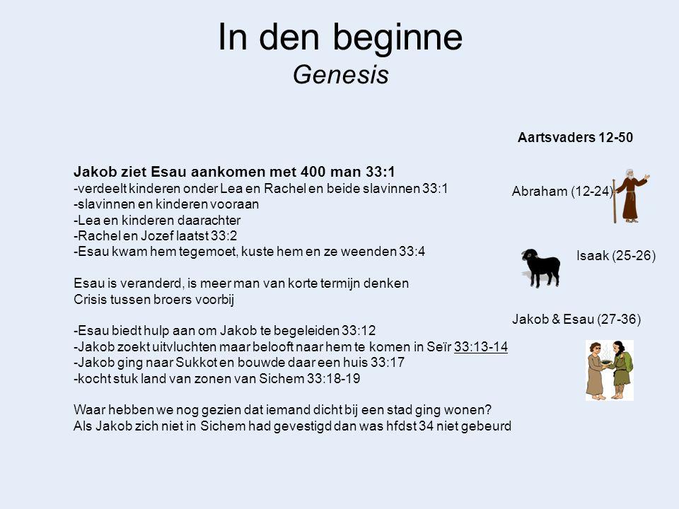 In den beginne Genesis Jakob ziet Esau aankomen met 400 man 33:1