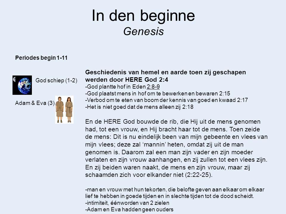 In den beginne Genesis Periodes begin 1-11. Geschiedenis van hemel en aarde toen zij geschapen werden door HERE God 2:4.