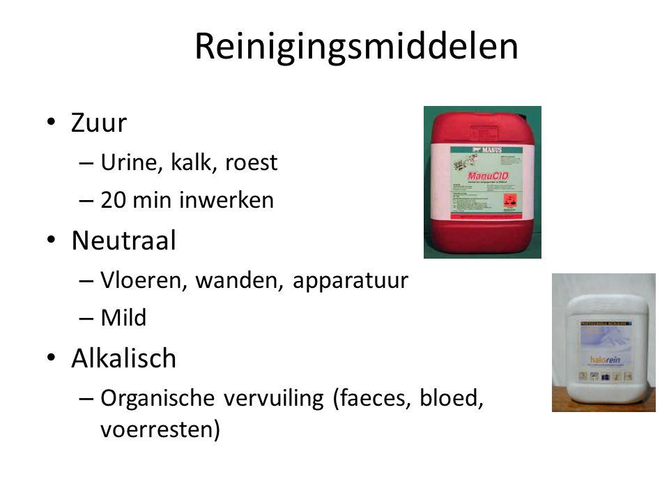 Reinigingsmiddelen Zuur Neutraal Alkalisch Urine, kalk, roest